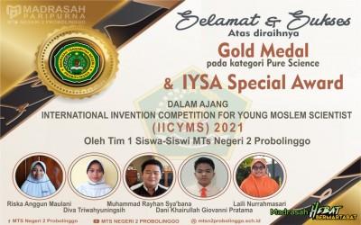 Siswa MTsN 2 Probolinggo Raih 3 Medali Internasional 2021